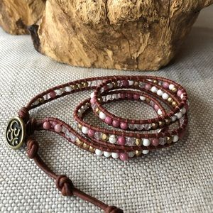 Beaded Leather Wrap Bracelet